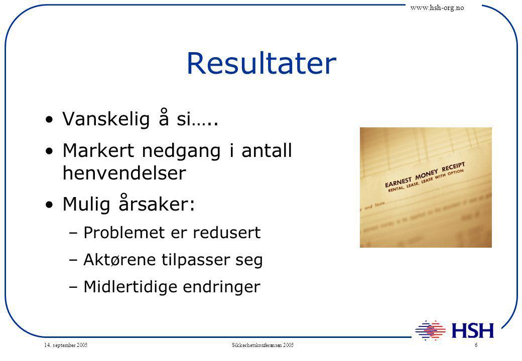 www.hsh-org.no 14. september 2005Sikkerhetskonferansen 20056 Resultater Vanskelig å si…..