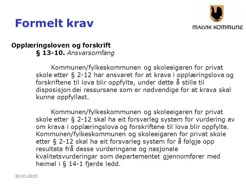 30.03.2015 Formelt krav Opplæringsloven og forskrift § 13-10.