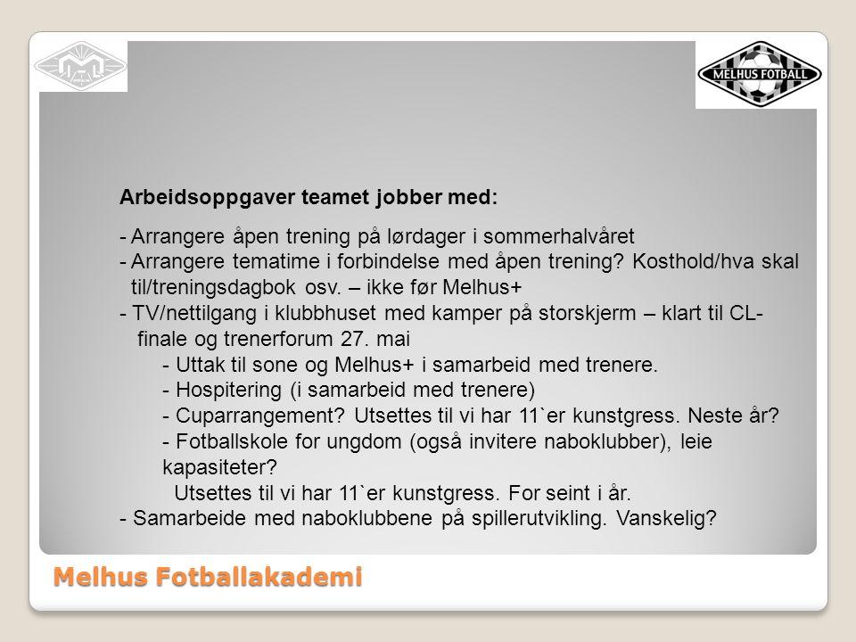 Melhus Fotballakademi Arbeidsoppgaver treneransvarlig (Jørn Olsen): - lede spillerutviklingsteamet - redigere/forenkle sportsplanen - kartlegging trenerkompetanse i klubben - utdanning av trenere - sørge for at det inngås avtaler mellom hovedtrenere og klubb - arrangere trenerforum - første trenerforum 27.mai.