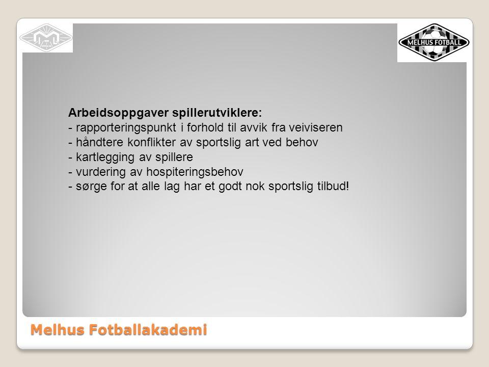 Melhus Fotballakademi Arbeidsoppgaver spillerutviklere: - rapporteringspunkt i forhold til avvik fra veiviseren - håndtere konflikter av sportslig art ved behov - kartlegging av spillere - vurdering av hospiteringsbehov - sørge for at alle lag har et godt nok sportslig tilbud!