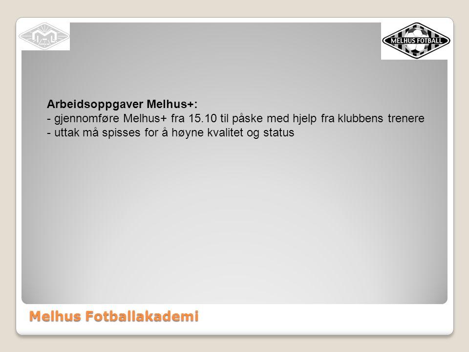 Melhus Fotballakademi Arbeidsoppgaver Melhus+: - gjennomføre Melhus+ fra 15.10 til påske med hjelp fra klubbens trenere - uttak må spisses for å høyne kvalitet og status
