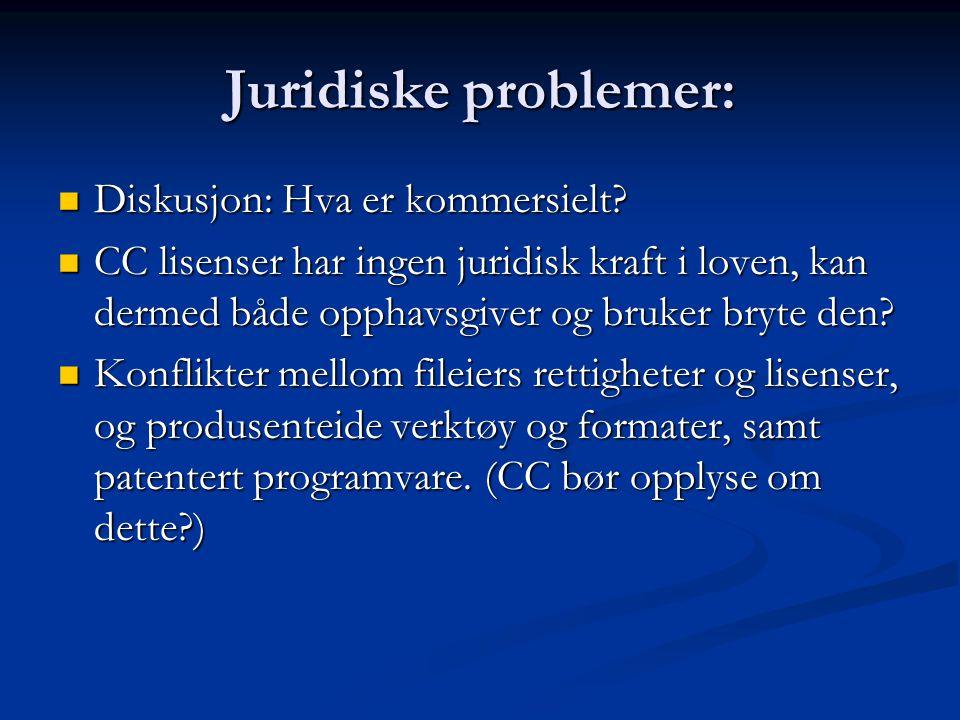 Juridiske problemer: Diskusjon: Hva er kommersielt.