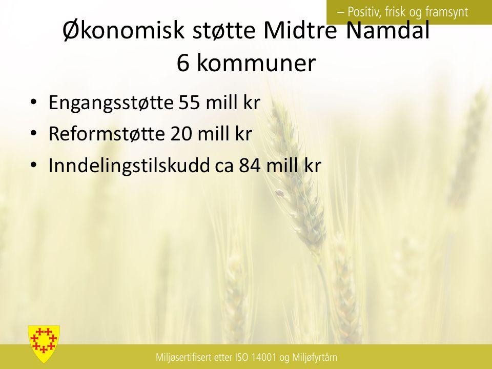 Økonomisk støtte Midtre Namdal 6 kommuner Engangsstøtte 55 mill kr Reformstøtte 20 mill kr Inndelingstilskudd ca 84 mill kr