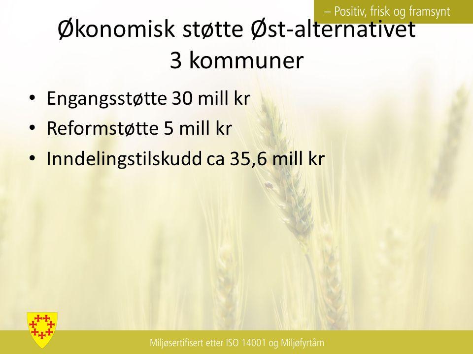 Økonomisk støtte Øst-alternativet 3 kommuner Engangsstøtte 30 mill kr Reformstøtte 5 mill kr Inndelingstilskudd ca 35,6 mill kr
