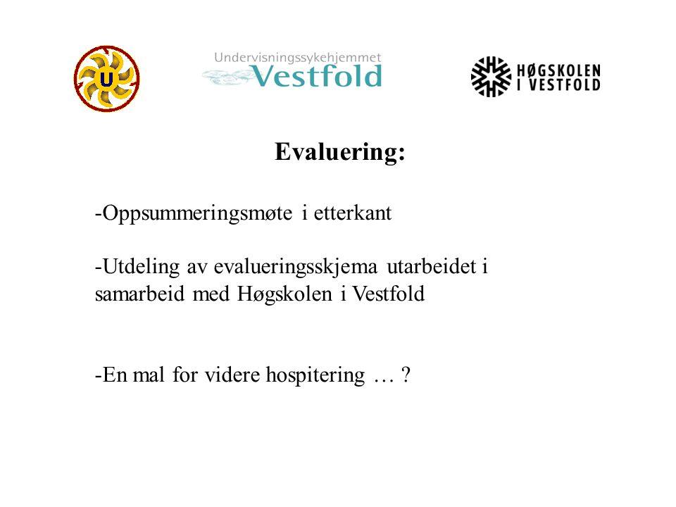 Evaluering: -Oppsummeringsmøte i etterkant -Utdeling av evalueringsskjema utarbeidet i samarbeid med Høgskolen i Vestfold -En mal for videre hospiteri