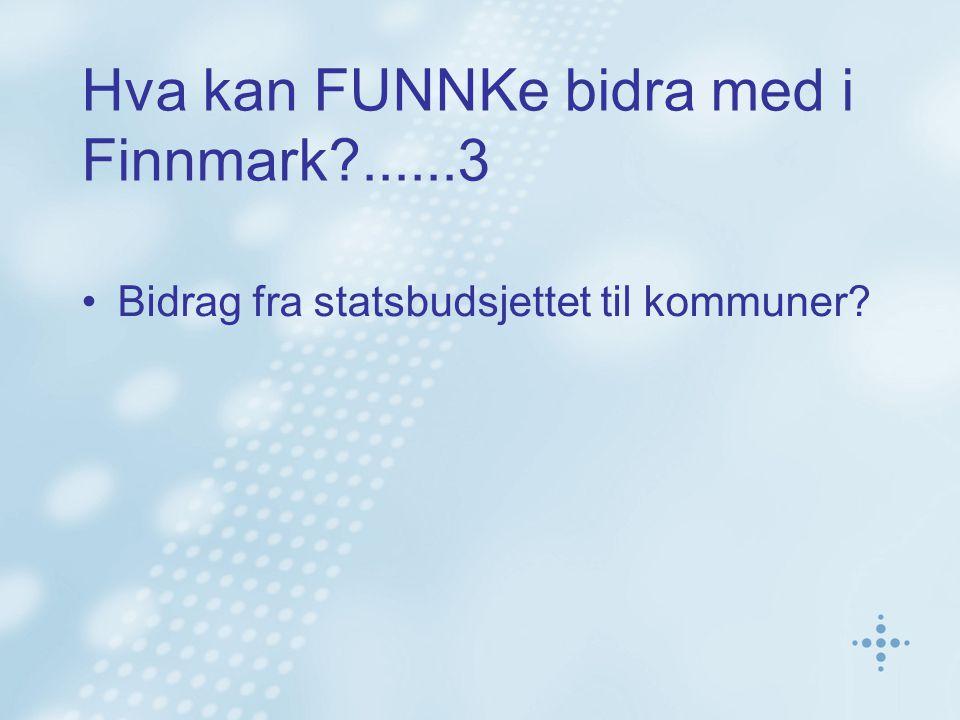 Hva kan FUNNKe bidra med i Finnmark ......3 Bidrag fra statsbudsjettet til kommuner