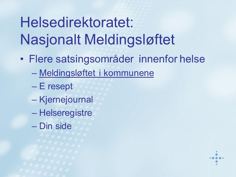 Helsedirektoratet: Nasjonalt Meldingsløftet Flere satsingsområder innenfor helse –Meldingsløftet i kommunene –E resept –Kjernejournal –Helseregistre –Din side