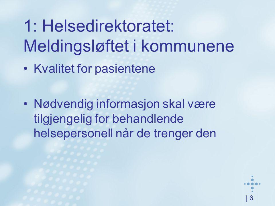 | 6 1: Helsedirektoratet: Meldingsløftet i kommunene Kvalitet for pasientene Nødvendig informasjon skal være tilgjengelig for behandlende helsepersonell når de trenger den