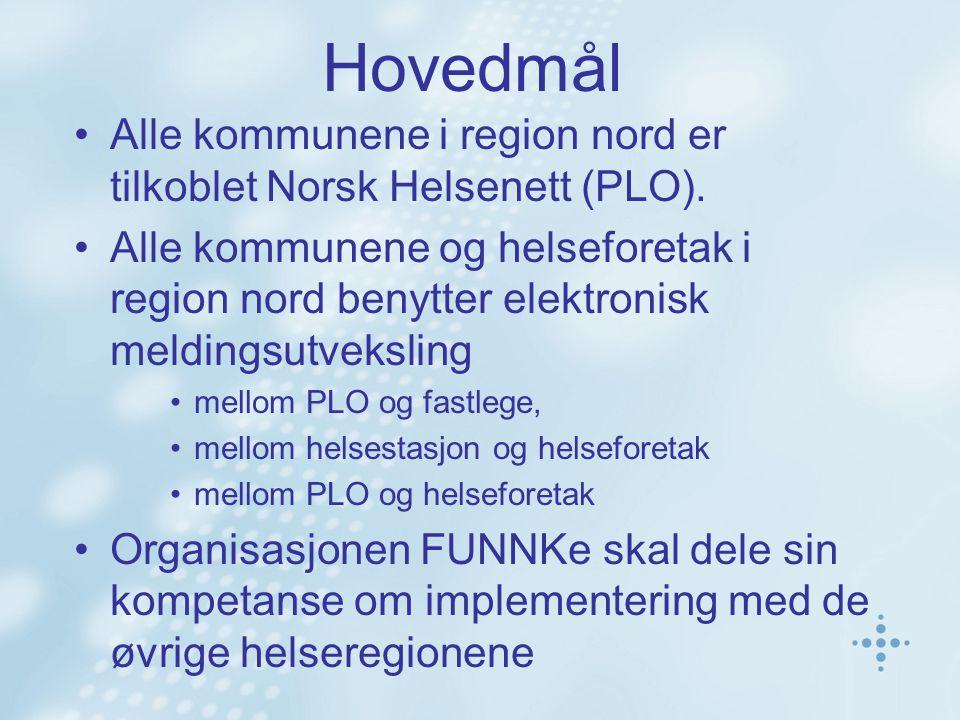 Hovedmål Alle kommunene i region nord er tilkoblet Norsk Helsenett (PLO). Alle kommunene og helseforetak i region nord benytter elektronisk meldingsut