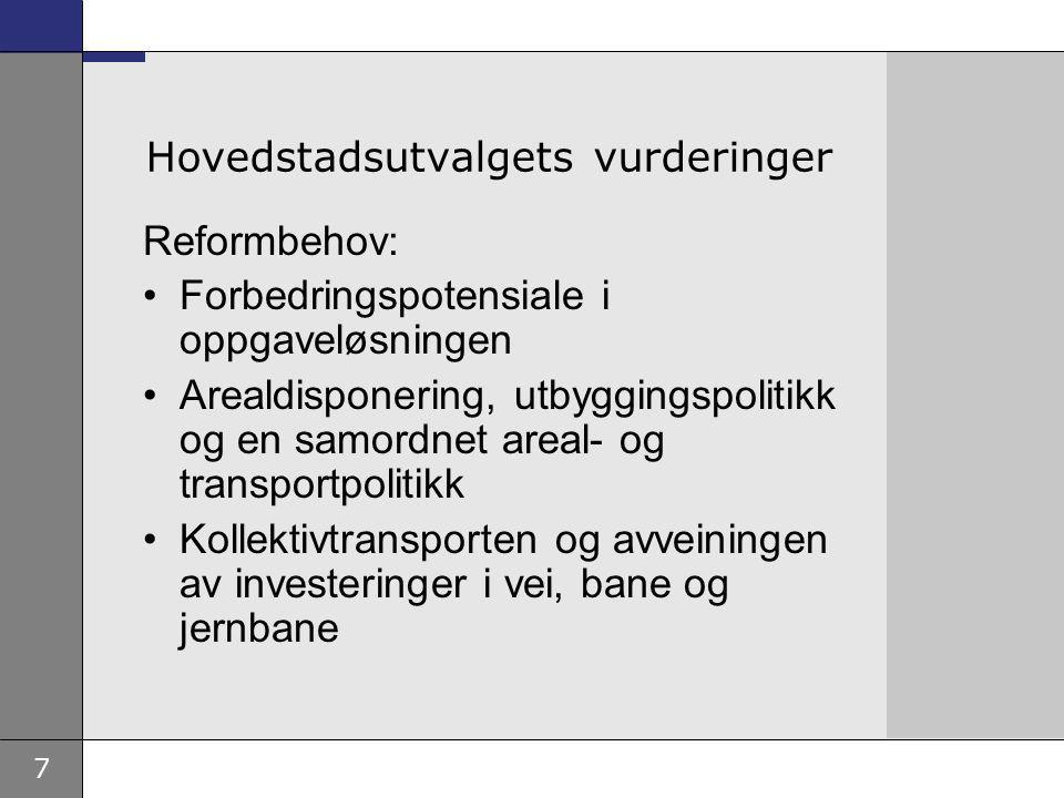 7 Hovedstadsutvalgets vurderinger Reformbehov: Forbedringspotensiale i oppgaveløsningen Arealdisponering, utbyggingspolitikk og en samordnet areal- og transportpolitikk Kollektivtransporten og avveiningen av investeringer i vei, bane og jernbane
