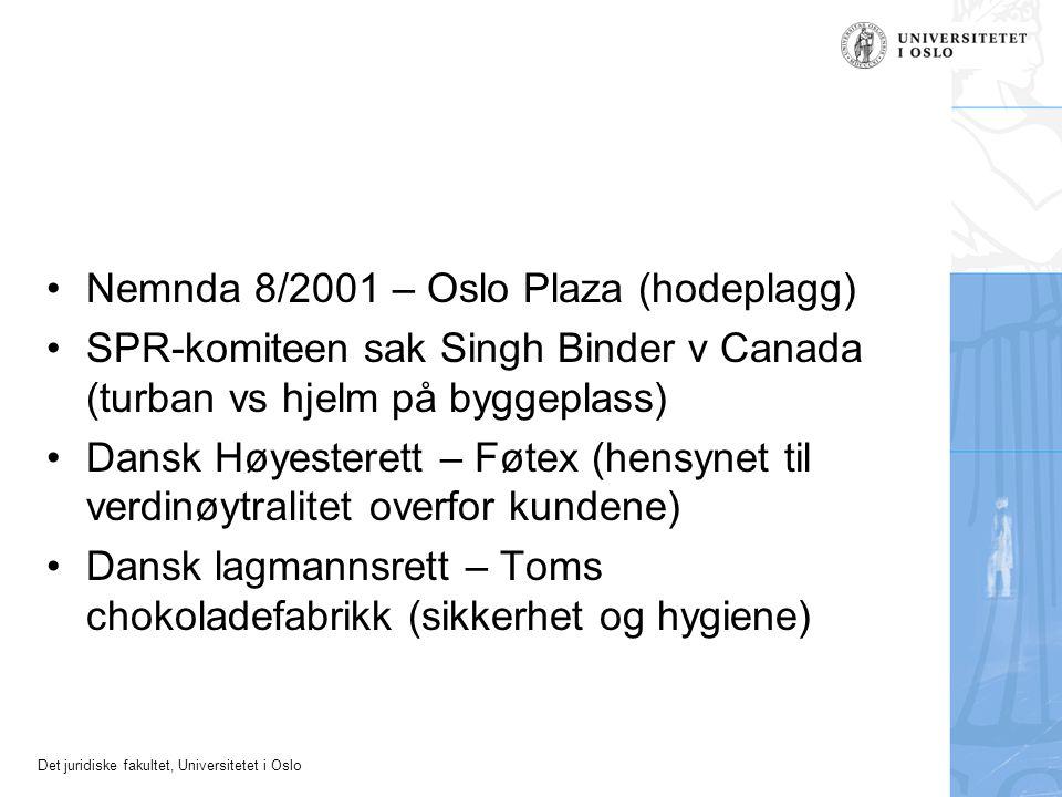 Det juridiske fakultet, Universitetet i Oslo Nemnda 8/2001 – Oslo Plaza (hodeplagg) SPR-komiteen sak Singh Binder v Canada (turban vs hjelm på byggepl