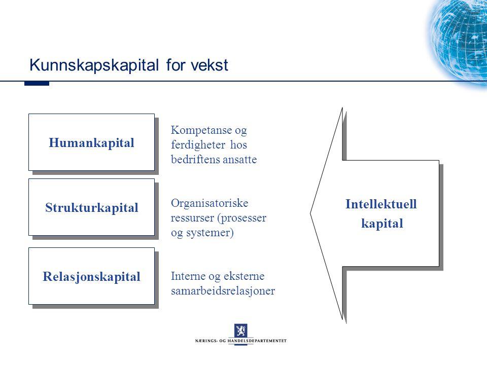 Kunnskapskapital for vekst Kompetanse og ferdigheter hos bedriftens ansatte Organisatoriske ressurser (prosesser og systemer) Interne og eksterne samarbeidsrelasjoner Humankapital Strukturkapital Relasjonskapital Intellektuell kapital Intellektuell kapital