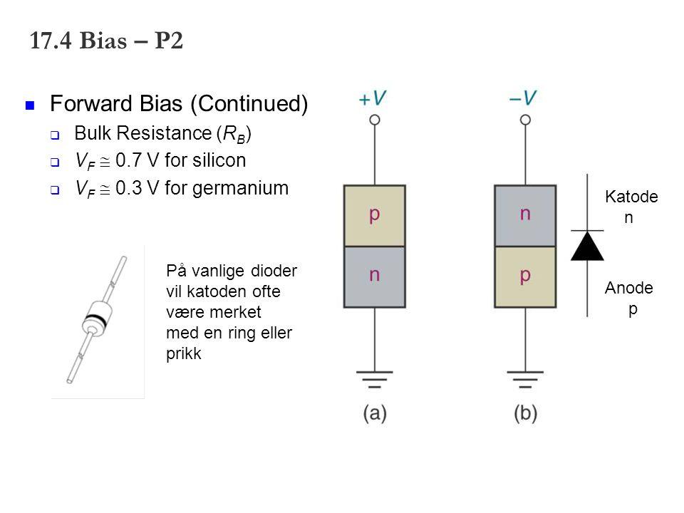 17.4 Bias – P2 Forward Bias (Continued)  Bulk Resistance (R B )  V F  0.7 V for silicon  V F  0.3 V for germanium Anode p Katode n På vanlige dio