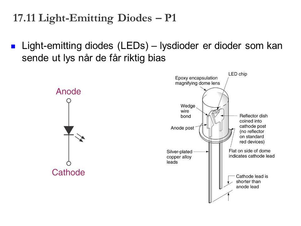 17.11 Light-Emitting Diodes – P1 Light-emitting diodes (LEDs) – lysdioder er dioder som kan sende ut lys når de får riktig bias