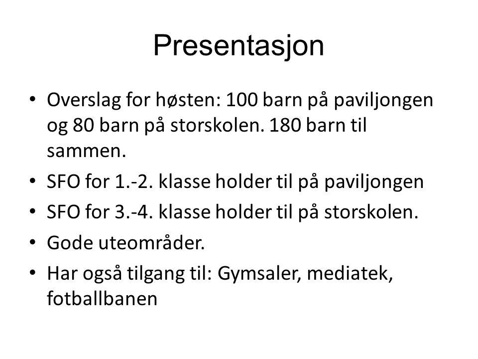 Presentasjon Overslag for høsten: 100 barn på paviljongen og 80 barn på storskolen.