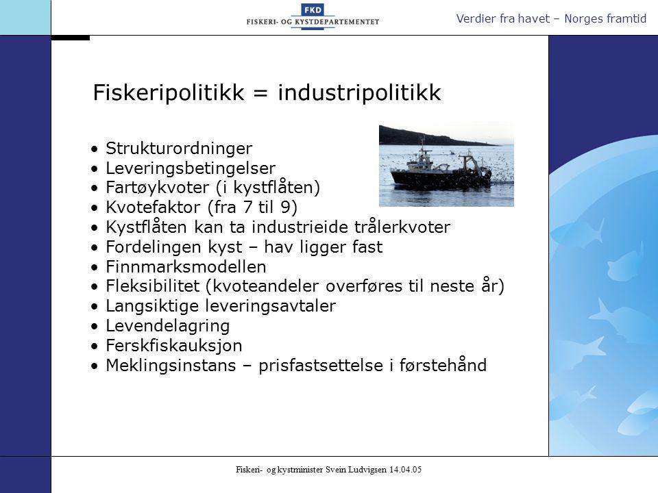 Verdier fra havet – Norges framtid Fiskeri- og kystminister Svein Ludvigsen 14.04.05 Strukturordninger Leveringsbetingelser Fartøykvoter (i kystflåten) Kvotefaktor (fra 7 til 9) Kystflåten kan ta industrieide trålerkvoter Fordelingen kyst – hav ligger fast Finnmarksmodellen Fleksibilitet (kvoteandeler overføres til neste år) Langsiktige leveringsavtaler Levendelagring Ferskfiskauksjon Meklingsinstans – prisfastsettelse i førstehånd Fiskeripolitikk = industripolitikk