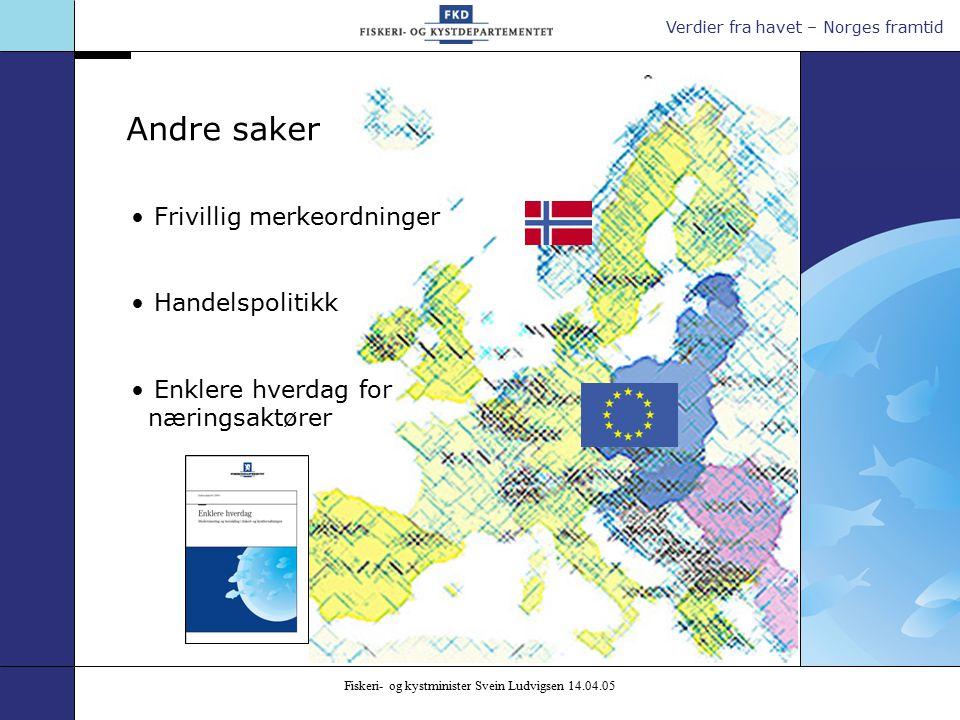 Verdier fra havet – Norges framtid Fiskeri- og kystminister Svein Ludvigsen 14.04.05 Frivillig merkeordninger Handelspolitikk Enklere hverdag for næringsaktører Andre saker