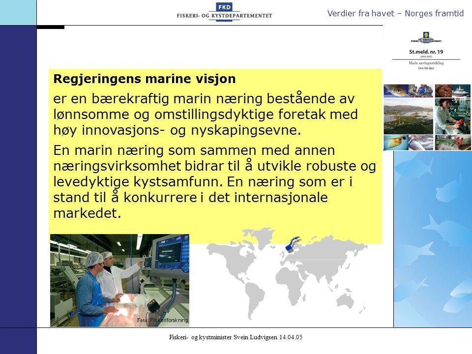 Verdier fra havet – Norges framtid Fiskeri- og kystminister Svein Ludvigsen 14.04.05 Regjeringens marine visjon er en bærekraftig marin næring bestående av lønnsomme og omstillingsdyktige foretak med høy innovasjons- og nyskapingsevne.