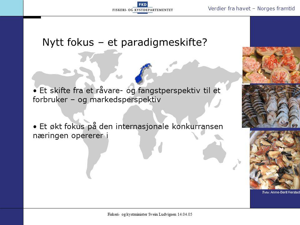 Verdier fra havet – Norges framtid Fiskeri- og kystminister Svein Ludvigsen 14.04.05 Nytt fokus – et paradigmeskifte.