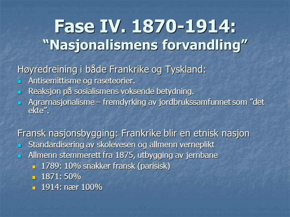 """Fase IV. 1870-1914: """"Nasjonalismens forvandling"""" Høyredreining i både Frankrike og Tyskland: Antisemittisme og raseteorier. Antisemittisme og raseteor"""