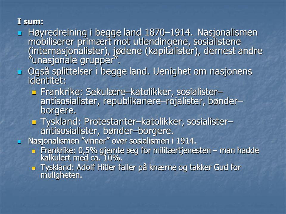 I sum: Høyredreining i begge land 1870–1914. Nasjonalismen mobiliserer primært mot utlendingene, sosialistene (internasjonalister), jødene (kapitalist