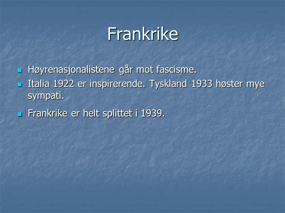 Frankrike Høyrenasjonalistene går mot fascisme. Høyrenasjonalistene går mot fascisme. Italia 1922 er inspirerende. Tyskland 1933 høster mye sympati. I
