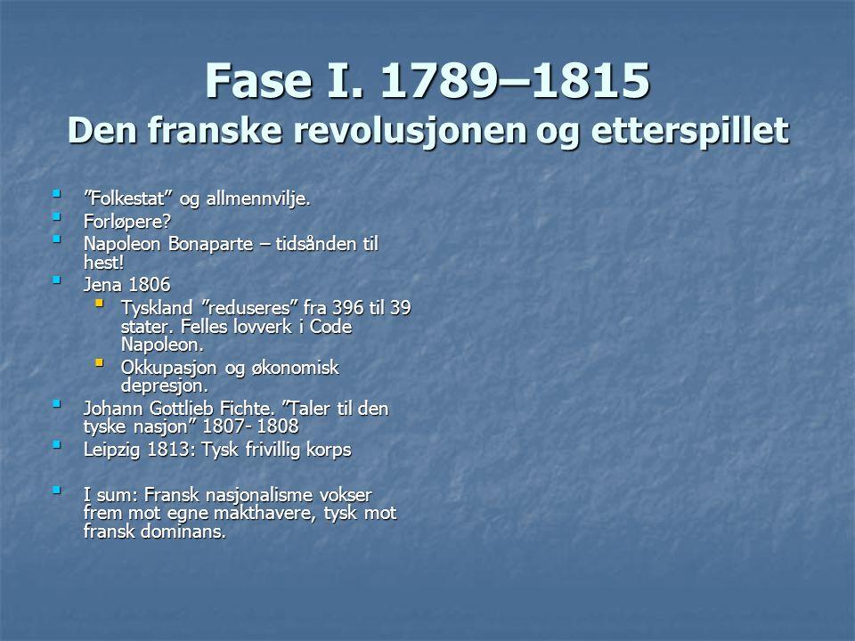"""Fase I. 1789–1815 Den franske revolusjonen og etterspillet """"Folkestat"""" og allmennvilje.""""Folkestat"""" og allmennvilje. Forløpere?Forløpere? Napoleon Bona"""