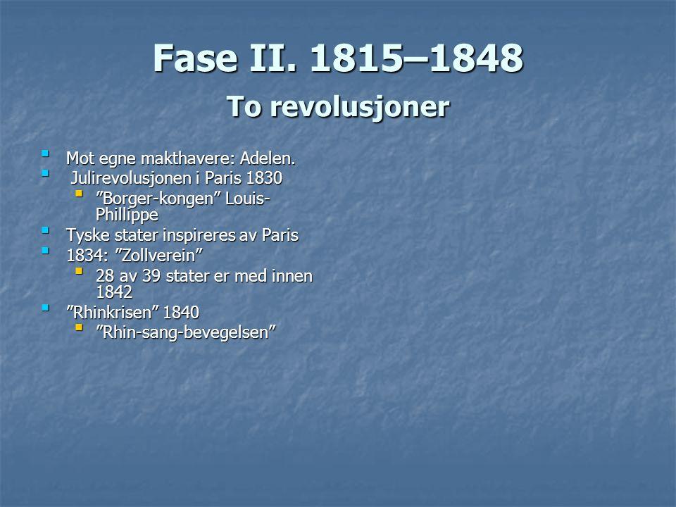Fase II. 1815–1848 To revolusjoner Mot egne makthavere: Adelen.Mot egne makthavere: Adelen. Julirevolusjonen i Paris 1830 Julirevolusjonen i Paris 183