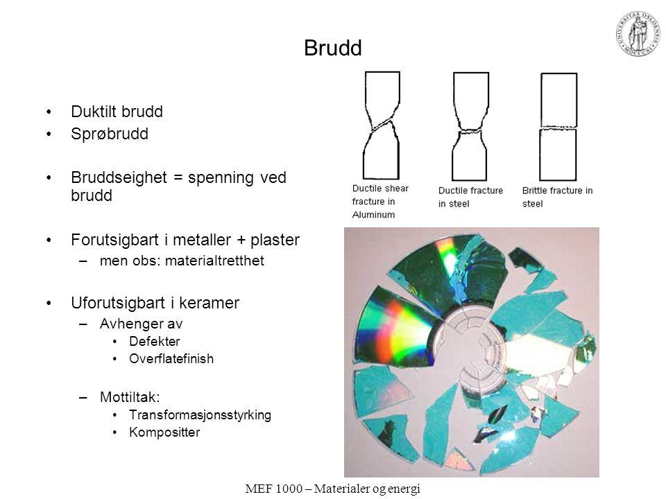 MEF 1000 – Materialer og energi Brudd Duktilt brudd Sprøbrudd Bruddseighet = spenning ved brudd Forutsigbart i metaller + plaster –men obs: materialtr