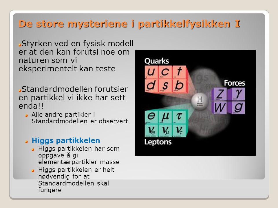 De store mysteriene i partikkelfysikken I Styrken ved en fysisk modell er at den kan forutsi noe om naturen som vi eksperimentelt kan teste Standardmodellen forutsier en partikkel vi ikke har sett enda!.