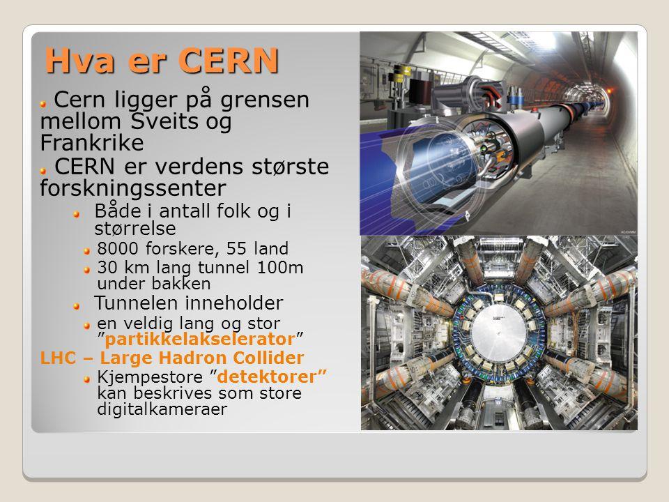 Cern ligger på grensen mellom Sveits og Frankrike CERN er verdens største forskningssenter Både i antall folk og i størrelse 8000 forskere, 55 land 30 km lang tunnel 100m under bakken Tunnelen inneholder en veldig lang og stor partikkelakselerator LHC – Large Hadron Collider Kjempestore detektorer kan beskrives som store digitalkameraer Hva er CERN