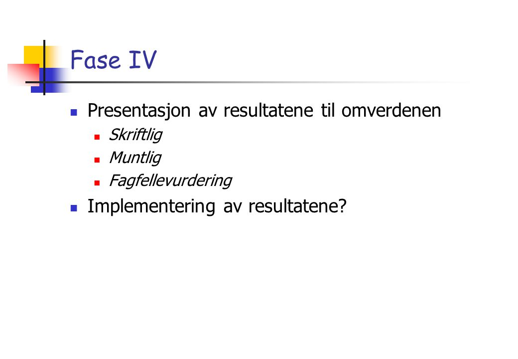 Fase IV Presentasjon av resultatene til omverdenen Skriftlig Muntlig Fagfellevurdering Implementering av resultatene