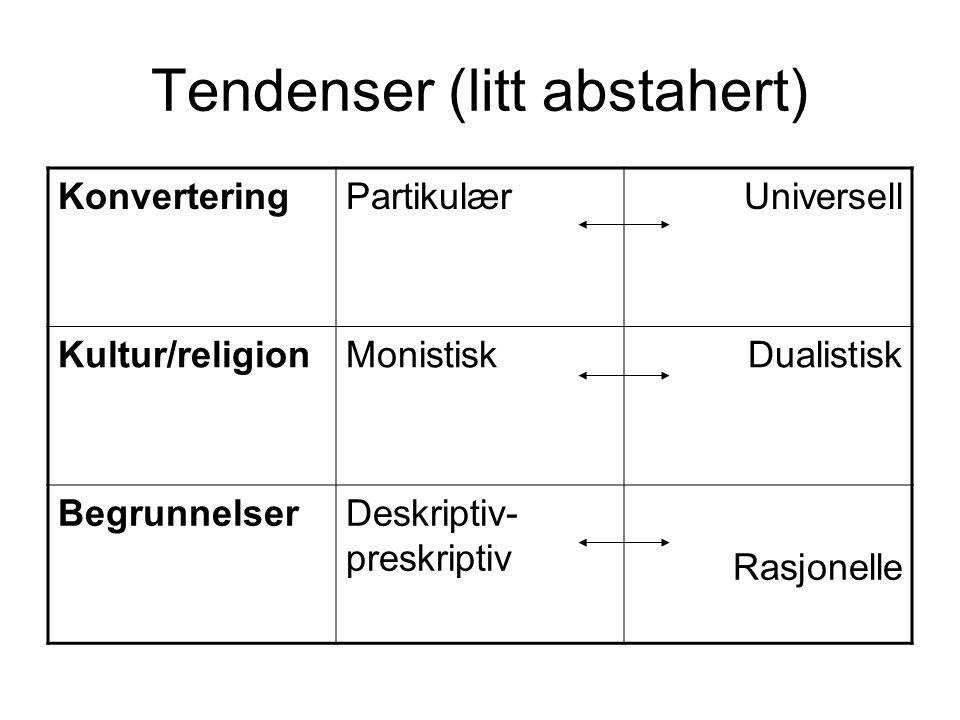 Tendenser (litt abstahert) KonverteringPartikulærUniversell Kultur/religionMonistiskDualistisk BegrunnelserDeskriptiv- preskriptiv Rasjonelle