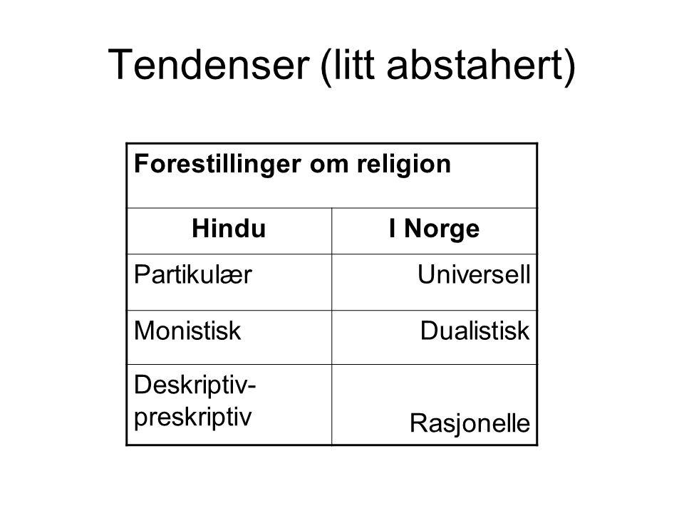 Tendenser (litt abstahert) Forestillinger om religion HinduI Norge PartikulærUniversell MonistiskDualistisk Deskriptiv- preskriptiv Rasjonelle