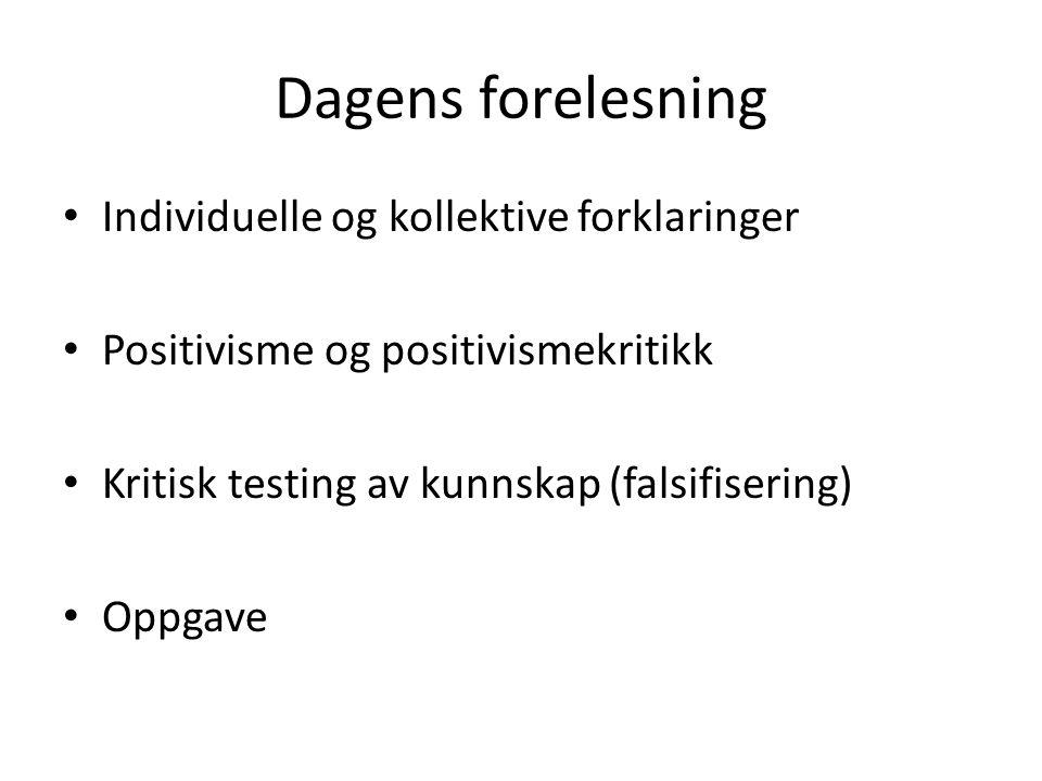 Dagens forelesning Individuelle og kollektive forklaringer Positivisme og positivismekritikk Kritisk testing av kunnskap (falsifisering) Oppgave