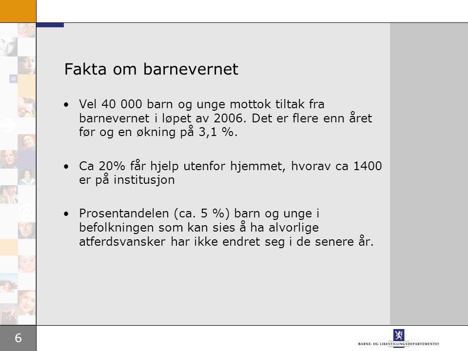 6 Fakta om barnevernet Vel 40 000 barn og unge mottok tiltak fra barnevernet i løpet av 2006.