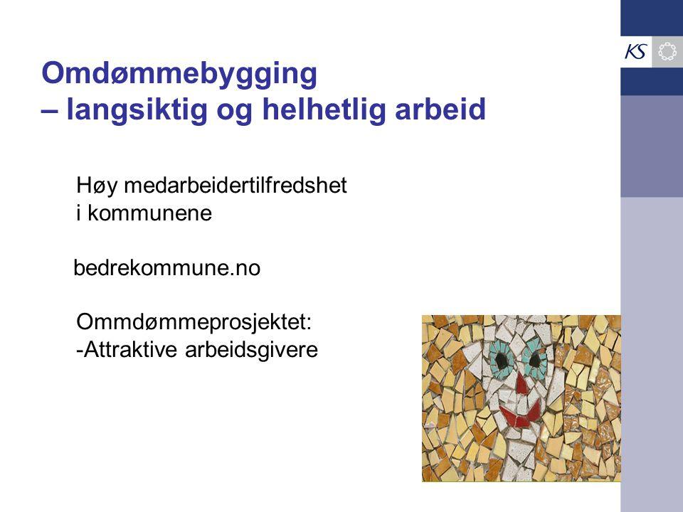 Høy medarbeidertilfredshet i kommunene bedrekommune.no Ommdømmeprosjektet: -Attraktive arbeidsgivere Omdømmebygging – langsiktig og helhetlig arbeid