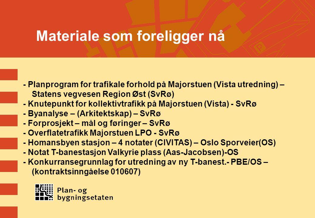 Materiale som foreligger nå - Planprogram for trafikale forhold på Majorstuen (Vista utredning) – Statens vegvesen Region Øst (SvRø) - Knutepunkt for kollektivtrafikk på Majorstuen (Vista) - SvRø - Byanalyse – (Arkitektskap) – SvRø - Forprosjekt – mål og føringer – SvRø - Overflatetrafikk Majorstuen LPO - SvRø - Homansbyen stasjon – 4 notater (CIVITAS) – Oslo Sporveier(OS) - Notat T-banestasjon Valkyrie plass (Aas-Jacobsen)-OS - Konkurransegrunnlag for utredning av ny T-banest.- PBE/OS – (kontraktsinngåelse 010607)