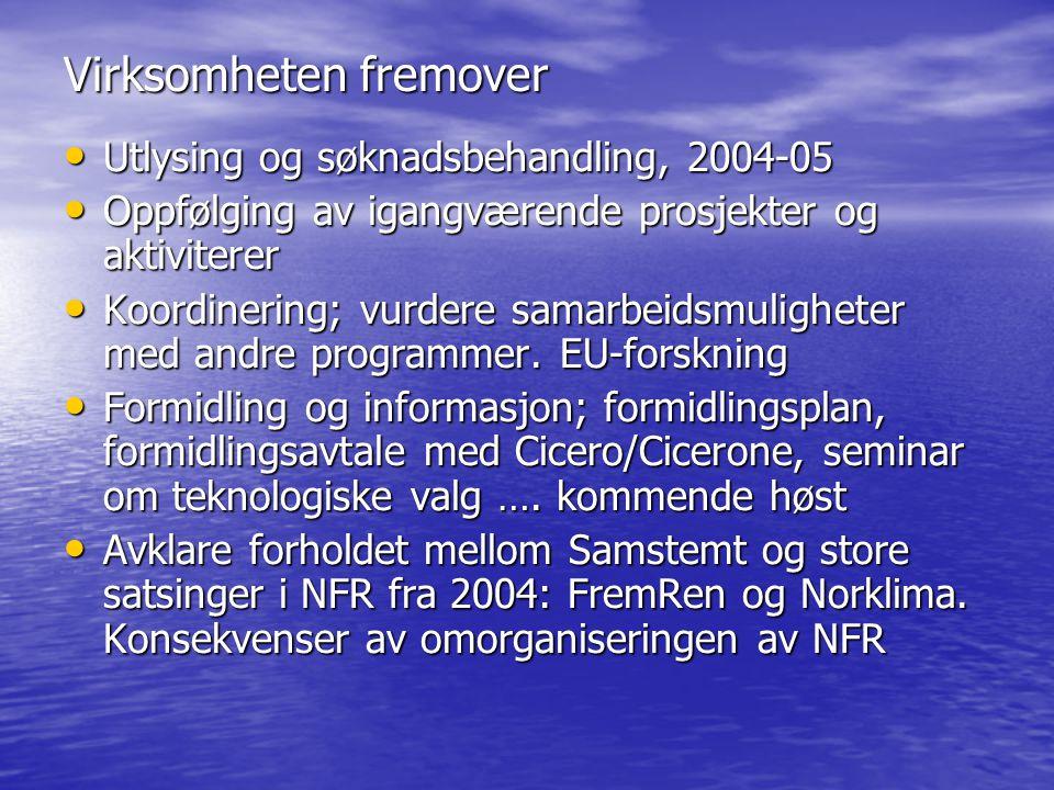 Virksomheten fremover Utlysing og søknadsbehandling, 2004-05 Utlysing og søknadsbehandling, 2004-05 Oppfølging av igangværende prosjekter og aktiviterer Oppfølging av igangværende prosjekter og aktiviterer Koordinering; vurdere samarbeidsmuligheter med andre programmer.