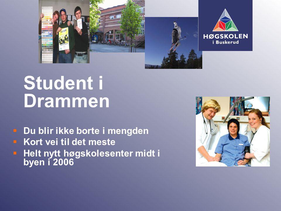  Sykepleierutdanning - Bachelor - 3 år  Radiografutdanning - Bachelor - 3 år  Visuell kommunikasjon - Bachelor – 3 år  Allmennlærerutdanning - 4 år  Lysdesign – Høgskolekandidat – 2 år Studietilbud Drammen