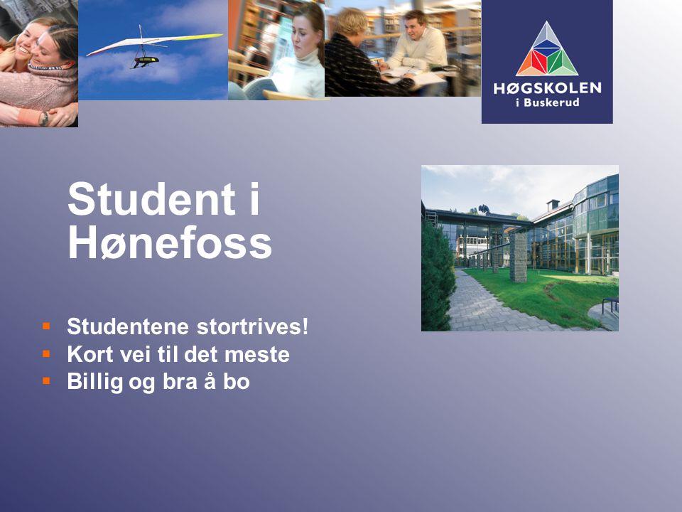 Student i Hønefoss  Studentene stortrives!  Kort vei til det meste  Billig og bra å bo