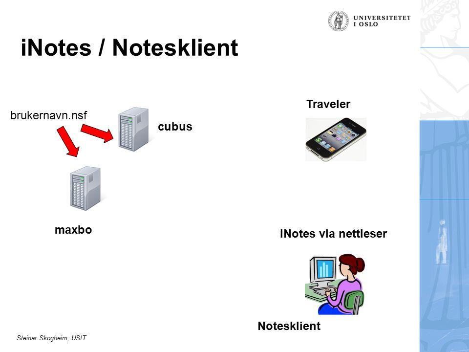 Steinar Skogheim, USIT iNotes / Notesklient Notesklient iNotes via nettleser cubus maxbo brukernavn.nsf Traveler