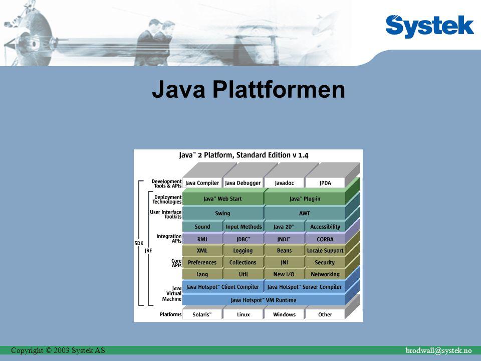 Copyright © 2003 Systek ASbrodwall@systek.no Java Plattformen