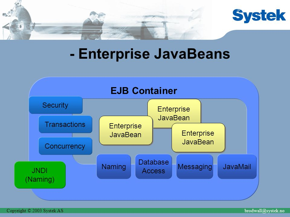 Copyright © 2003 Systek ASbrodwall@systek.no - Enterprise JavaBeans EJB Container Security JNDI (Naming) Enterprise JavaBean Enterprise JavaBean Namin