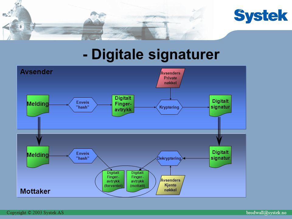 """Copyright © 2003 Systek ASbrodwall@systek.no Avsender - Digitale signaturer Melding Enveis """"hash"""" Digitalt Finger- avtrykk Kryptering Avsenders Privat"""