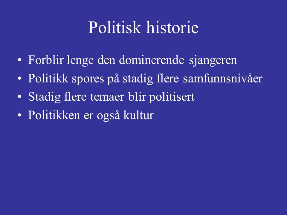Politisk historie Forblir lenge den dominerende sjangeren Politikk spores på stadig flere samfunnsnivåer Stadig flere temaer blir politisert Politikke