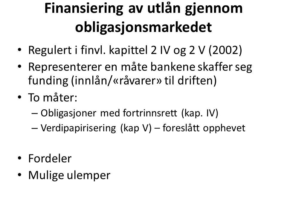 Finansiering av utlån gjennom obligasjonsmarkedet Regulert i finvl.