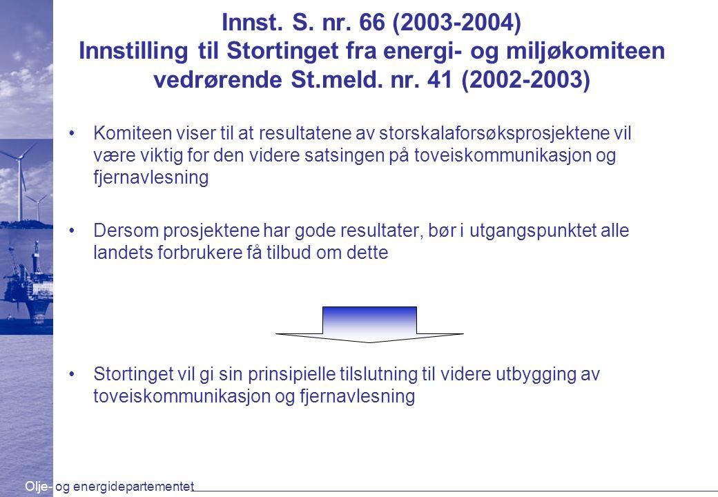 Olje- og energidepartementet Innst. S. nr. 66 (2003-2004) Innstilling til Stortinget fra energi- og miljøkomiteen vedrørende St.meld. nr. 41 (2002-200