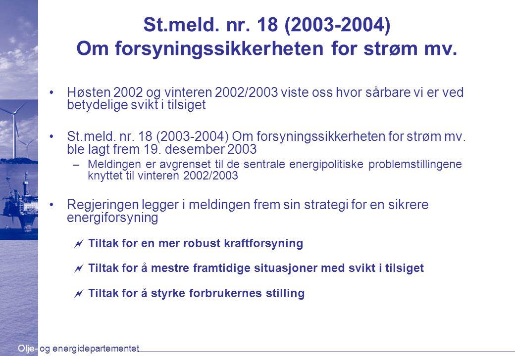 Olje- og energidepartementet St.meld. nr. 18 (2003-2004) Om forsyningssikkerheten for strøm mv.