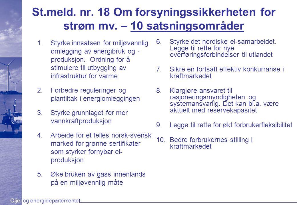 Olje- og energidepartementet St.meld. nr. 18 Om forsyningssikkerheten for strøm mv. – 10 satsningsområder 1. Styrke innsatsen for miljøvennlig omleggi